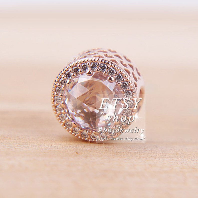 Abby Jewelry Rose Gold Clear CZ Radiant Hearts Charm beaded Fits European DIY Bracelets Necklaces Jewelry Making