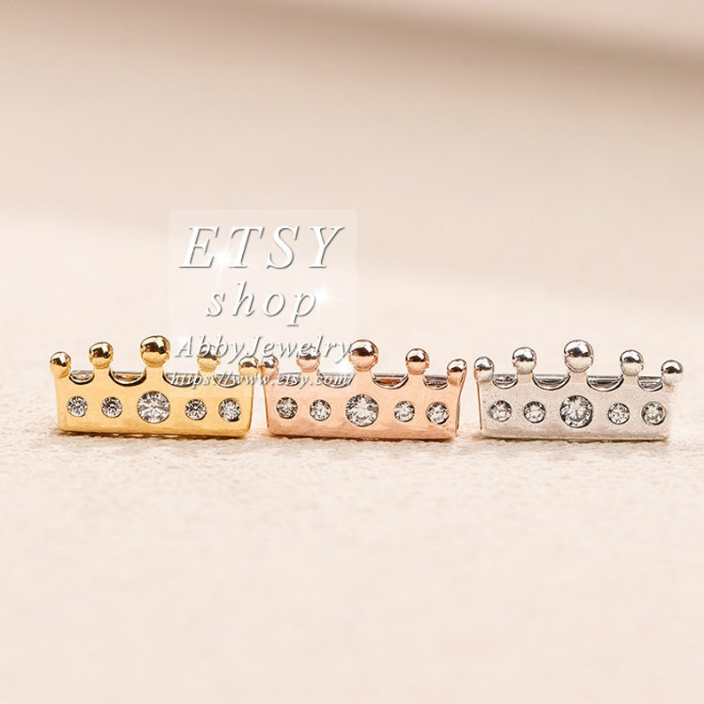 Abby Jewelry Reflexions\u2122 S925 Sterling Silver Golden and Rose gold Crown Cz Clip Charm For DIY Reflexions\u2122 Bracelet