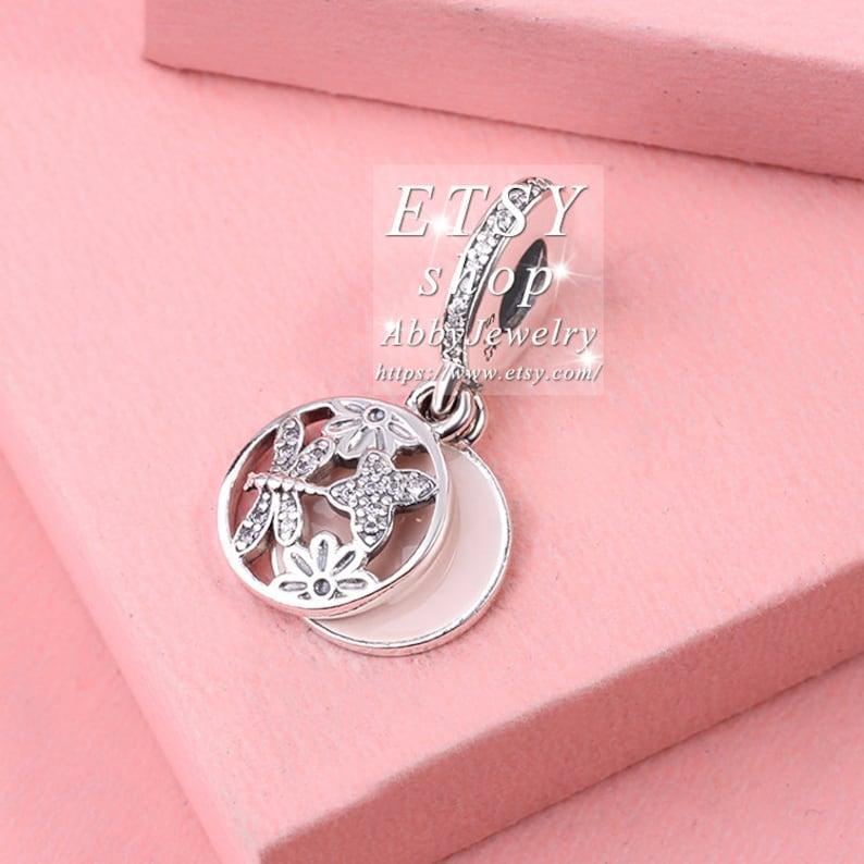Abby Jewelry 925 Sterling Silver Soft Pink Enamel /& Clear CZ Dangle Beads Bracelet For Woman Charm Bracelet Jewelry Making