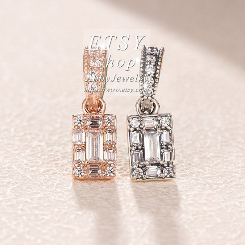 Abby Jewelry S925 Sterling Silver and Rose Gold Luminous Ice With CZ Pendant Dangle Charm Beaded Fit European Dora DIY Bracelets Necklaces