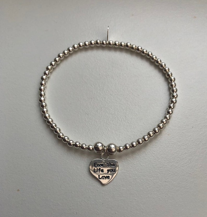 Sterling Silver Bracelet with Heart Charm image 0