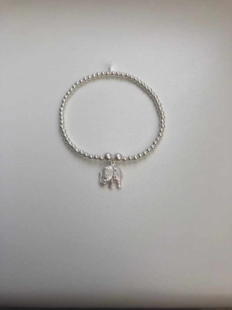 Sterling Silver Bracelet with Elephant Charm image 0