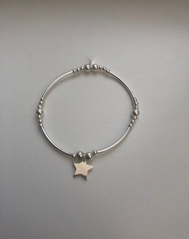 Sterling Silver Noodle Bracelet With Star Charm image 0
