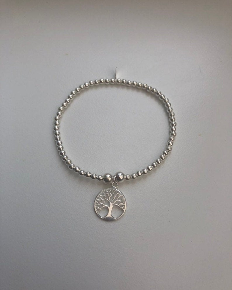 Sterling Silver Bracelet With Tree of Life Charm image 0