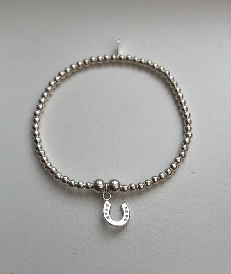 Sterling Silver Bracelet with Horseshoe Charm image 0