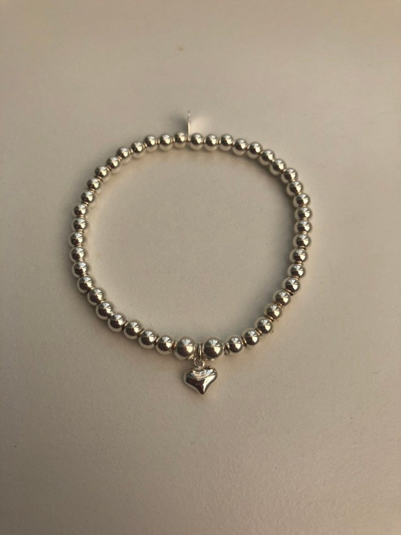 Children's Sterling Silver Bracelet with Heart Charm image 0