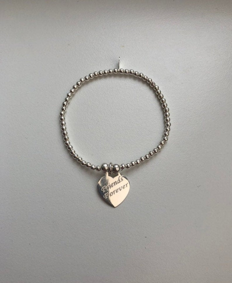 Sterling Silver Bracelet with Engraved Heart Charm image 0