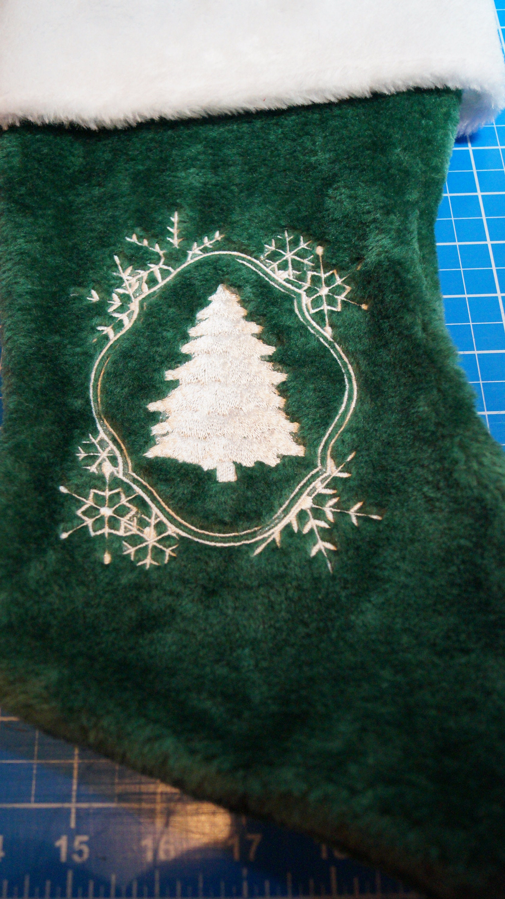 White Work Christmas Tree With Snowflake Frame Christmas Stocking