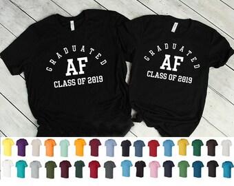 d8a0942fd Graduation Shirts, Graduated AF Shirt, Class of, Graduation Gift, College  Graduation, Grads, Graduate