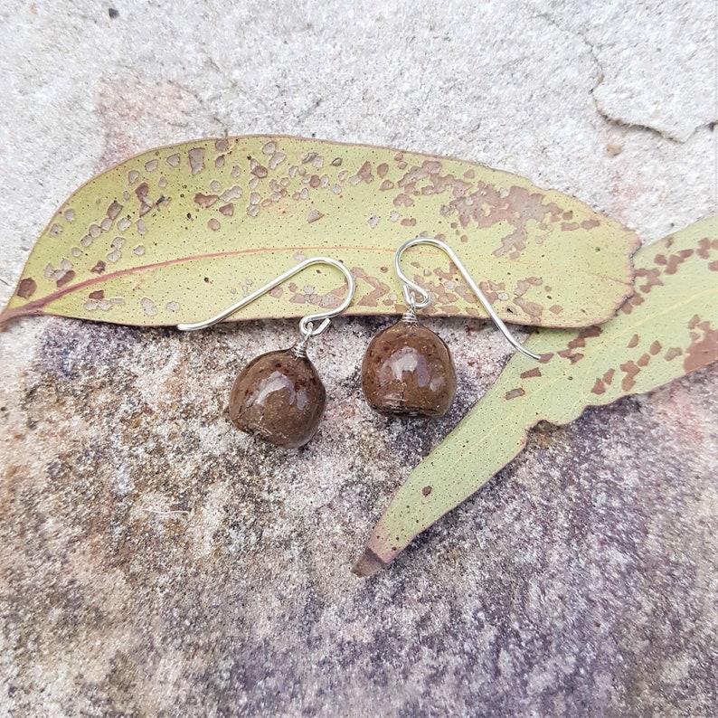 Gumnut Earring Eucalyptus Earring Blackbutt Seedpod Earring image 0