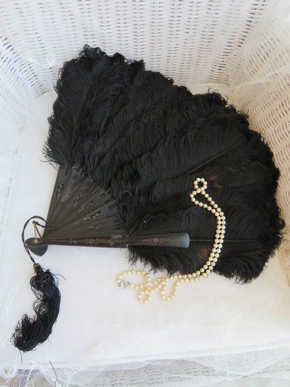wonderful antique ostrich feather fan