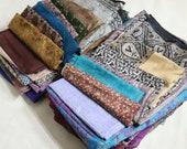 Vintage Pure Silk Sari Fabric 5Kg Lot Recycled Saree Fabrics Used Bundle for Crafting Nuno felting or Silk Sarees Ribbon For Fiber Arts