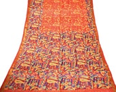 Vintage Sari 100 Pure Silk Saree Bollywood Print Designer Indian Craft Fabric Deco