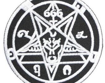 "Pentagram Demonic Satanic Black Metal Iron On Embroidered Patch 2.7/""x2.7/"""