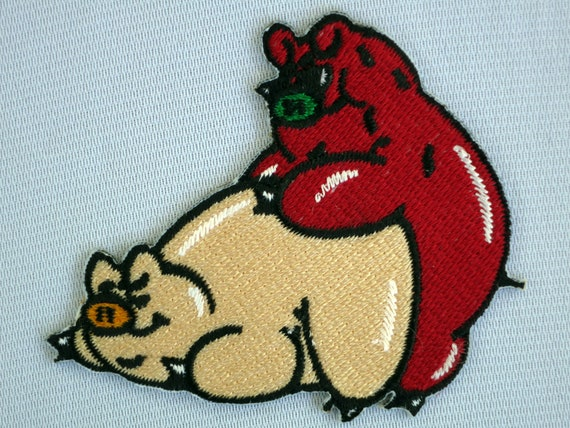 Iron On Old Man Piggy Pig Embroidery Applique Patch Sew Iron Badge