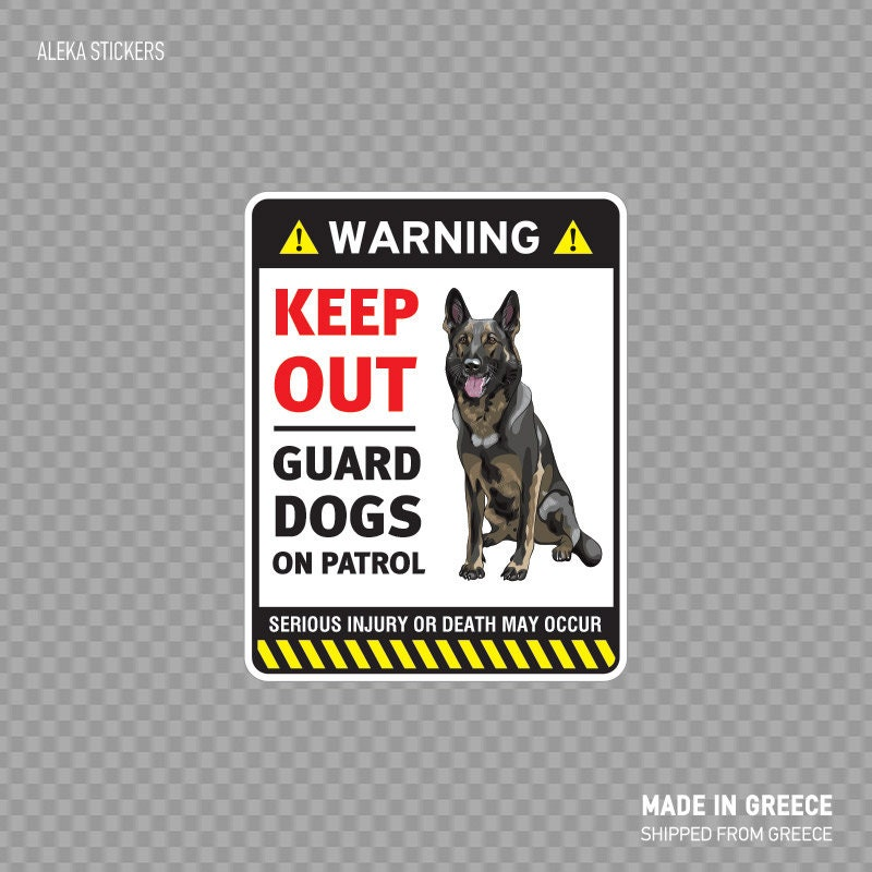 Decal Sticker Warning Guard Dogs On Patrol Sign Security Sign German Shepherd Dog Xx8rs