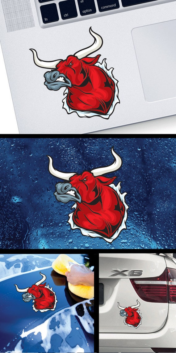 Sticker Decal Angry Bull Tearing 20 11101