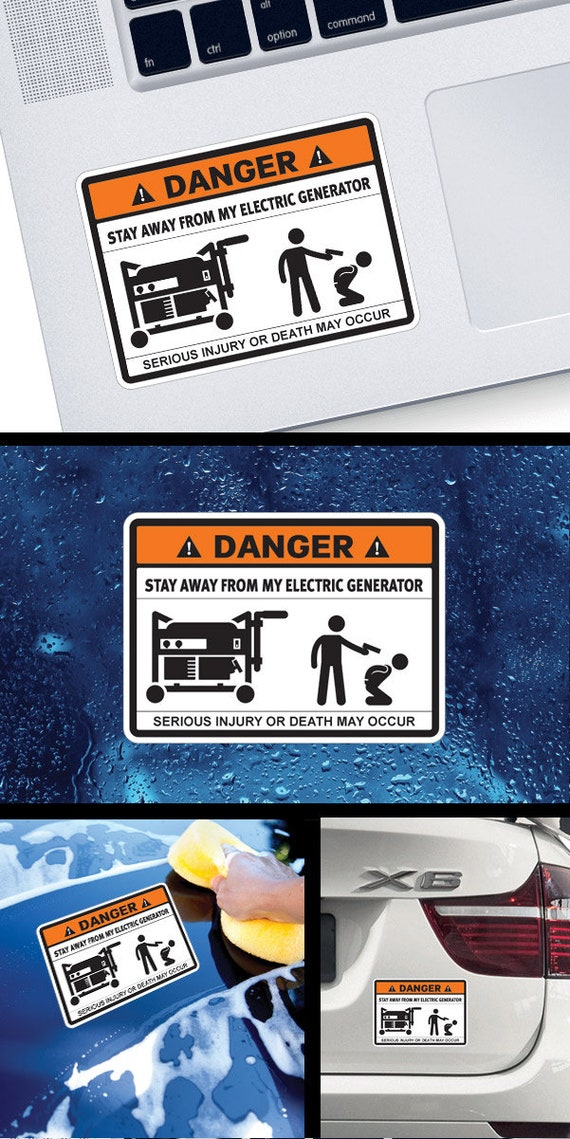 Decal Sticker Danger Stay Away From My Electric Generator Funny sign store  decoration wood working workshop garage Industry X3683