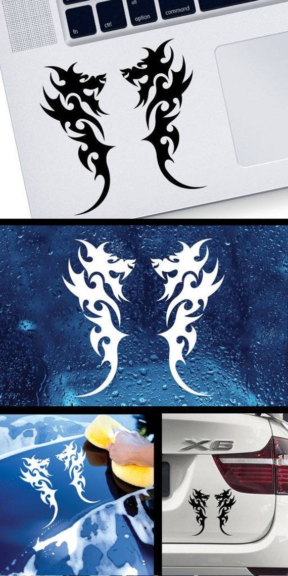 10 X 4.74 Inches Decal Stickers Pair of Dragons Decoration Waterproof Racing White Exterior Accessories