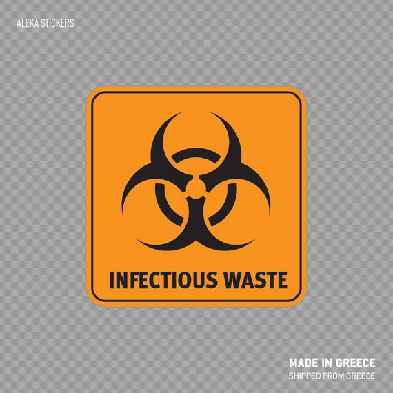 Square Decal Sticker Biohazard Infectious Waste Safety Sign Etsy