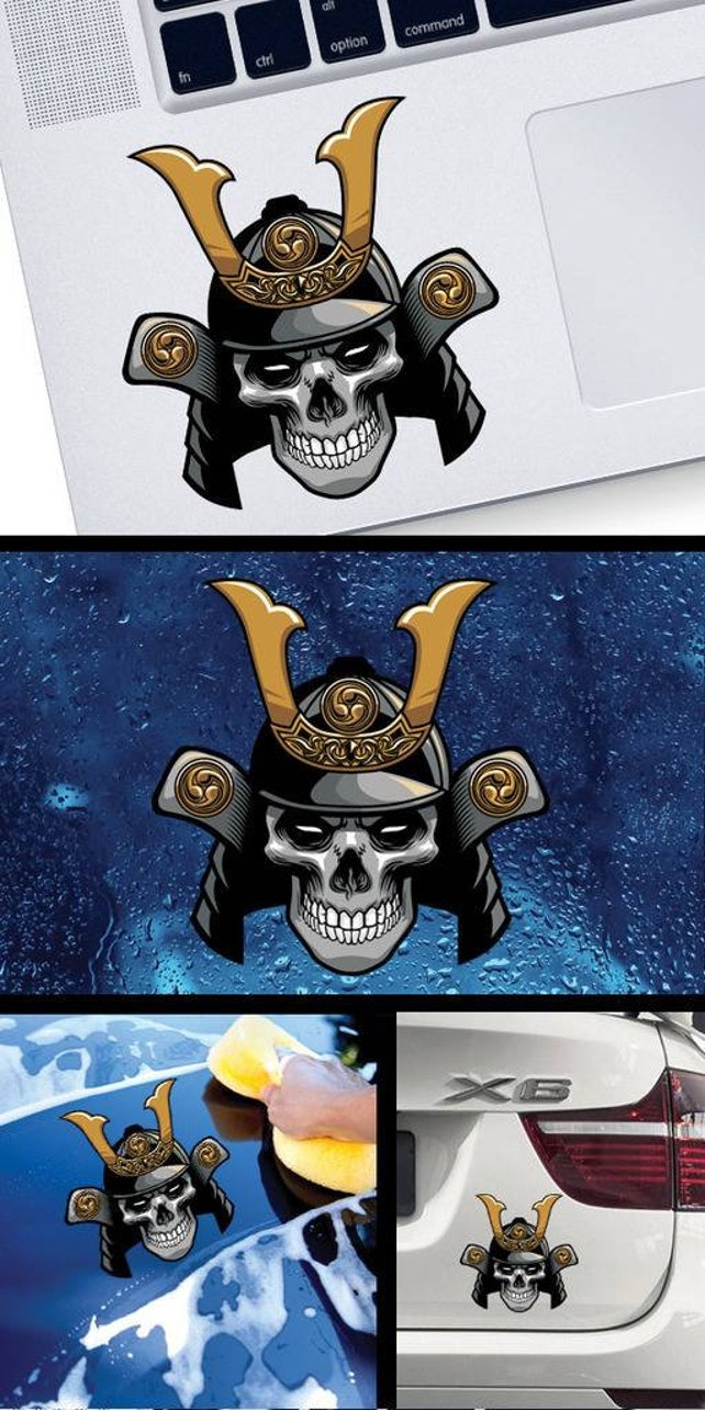 Decal sticker samurai skull smile warrior japan w8422