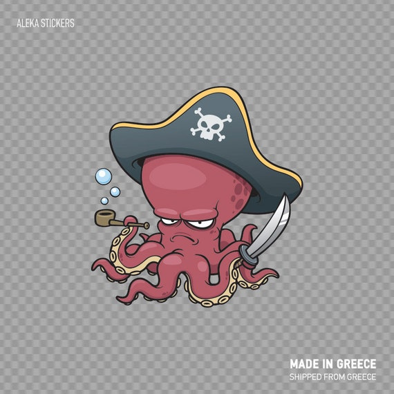 Octopus Pirate Cartoon Car Bumper Sticker Decal 5/'/' x 5/'/'