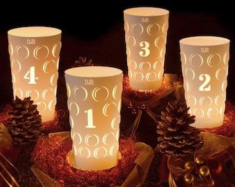 Dubbelicht 0.5L Set of 4 Advent, Palatine Dubbeglas Windlight, Palatinate Christmas Advent Wreath