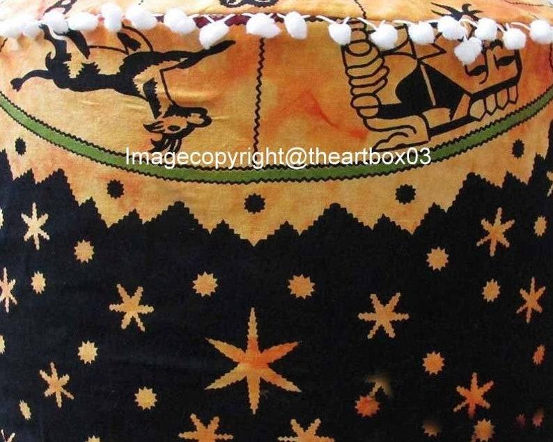Indian Zodiac Handmade Living Room Decor Pouffe Bohemian Vintage Seating Chair Stool Cotton Floor Pillow Footstool Pouf Ottoman 12x24 Inch