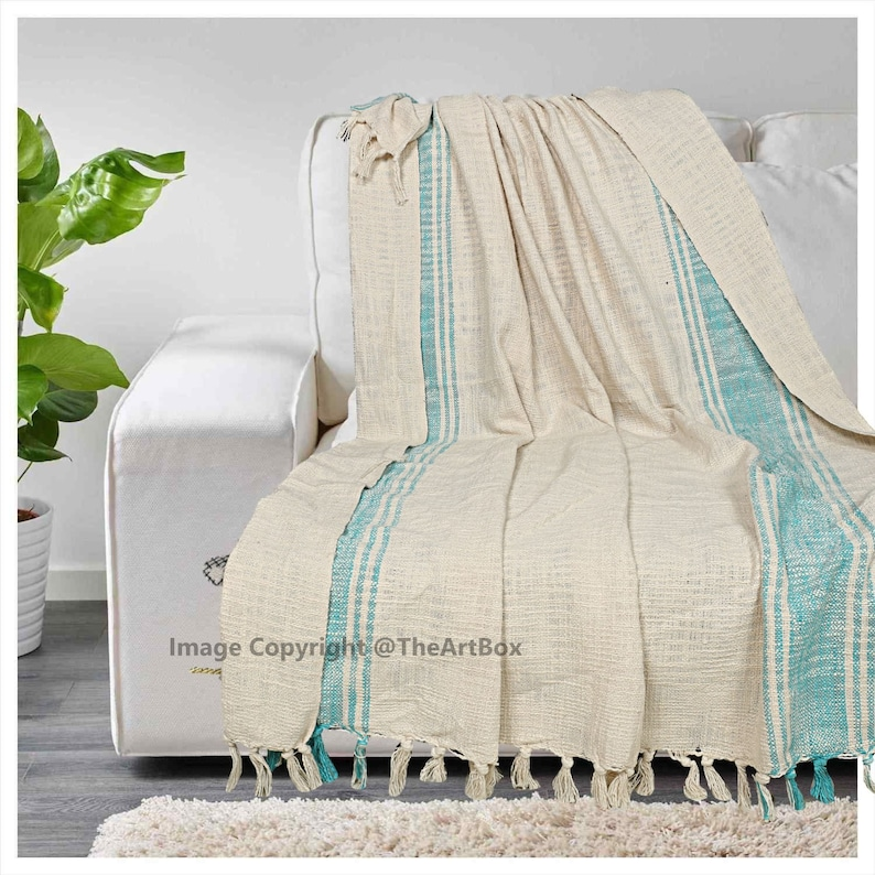 White and Turquoise Hand Block Printed Throw Blanket Cotton Throw Fringed Blanket Boho Bedspread Bohemian Bedding Indian Throw
