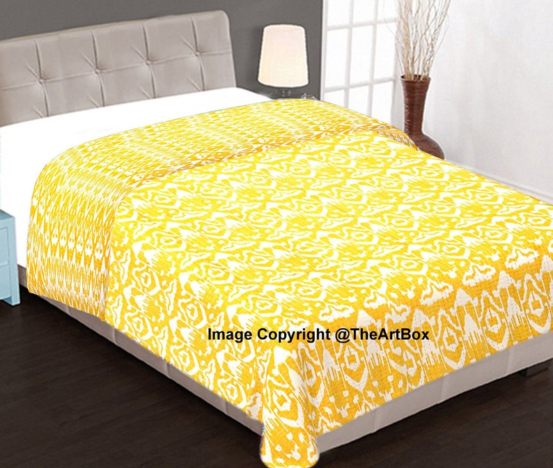 Bohemian Quilt,100/% Cotton Ikat Print Quilted Bedspread Yellow Cotton Quilt