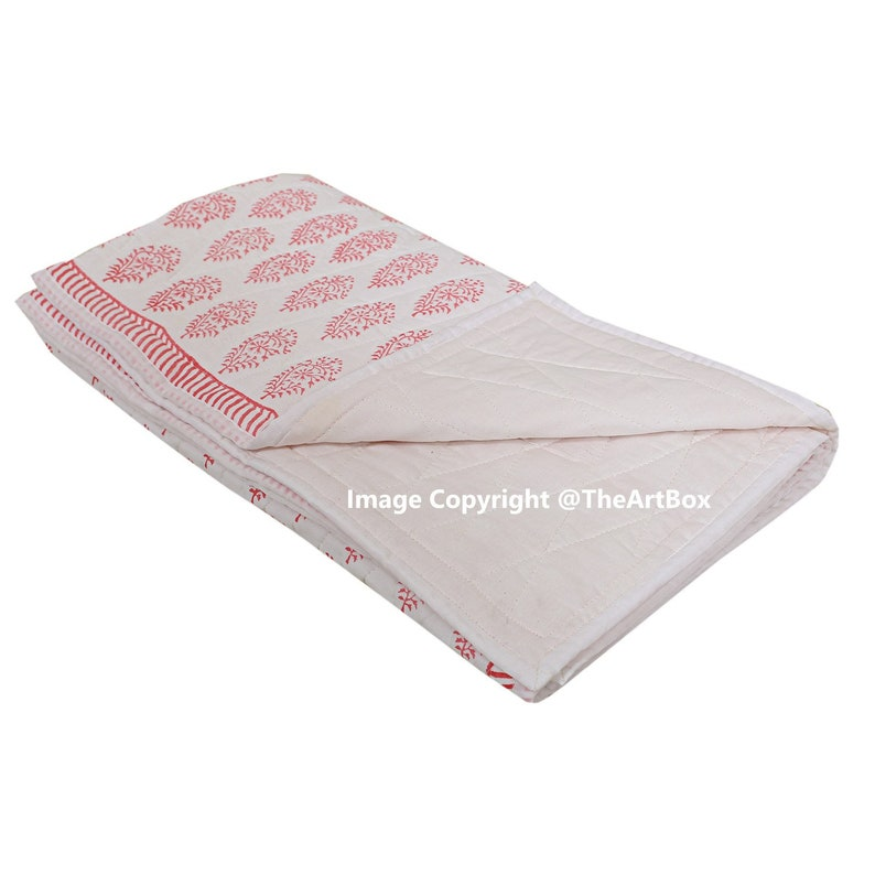 Indian Hand Block Print Kantha Baby Quilt Pink Floral Print Kantha Baby Blanket Kantha Throw Cotton Quilt