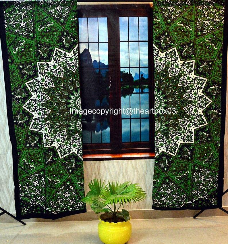 Green Star Mandala Curtain Wall Hanging Mandala Window Curtains Panels Tapestry Boho Curtains Tapestry Drapes Panels