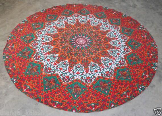 "Beach Towel Picnic Mat Flower Yin Yang Cotton Fabric 49/""Inches Roundies Indian"