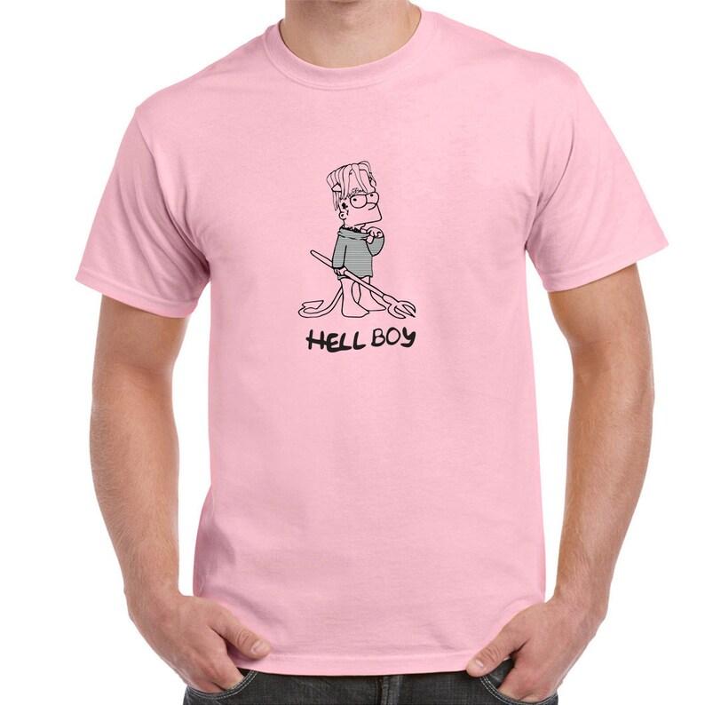 fc270833 Lil Peep Hellboy Pink T Shirt Rap Hip Hop RIP Tribute Man Tee | Etsy