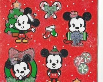 Hallmark Sealed Sticker Sheets Package, Disney Christmas Mickey Mouse Jr., Glittery