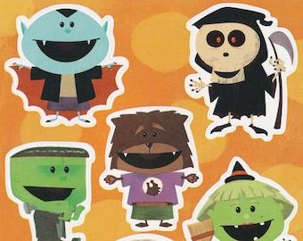 Vintage 1980s 90s Sticker Sheet: AGC/American Greetings Cute Monsters Halloween Sticker Sheet, Dracula, Mummy, Frankenstein