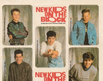 Vintage 1980s 90s Sticker Sheet: New Kids On the Block Boy Band Vending Machine Punch out Stickers, NKOTB