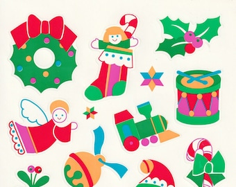Large Single Sticker Sheet by Current, Christmas and Holiday, Lighted Wreath, Filled Stocking, Angel, French Horn 21262-9