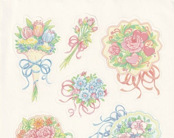 Large Single Sticker Sheet by Current, Springtime Bouquets, Delicate Flower Sprays, Wedding, Etc. # 12839-2
