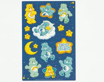 "Vintage Care Bears Glow in the Dark Sticker Sheet, ""Sweet Dreams"" Retro 1980s 1990s, Copyright TCFC 2003, Scrapbooking, Bedtime, Sleepy, Nap"