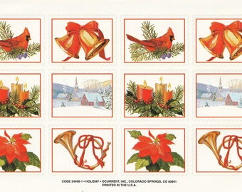 Large Single Sticker Sheet by Current, Christmas and Holiday, Snowy Church Scene, Candle Arrangement, French Horn, Cardinal, Bells,24496-1
