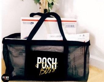 Posh Boss Poshmark Large Black Shipping Mesh Tote Bag b3ef90c7c9