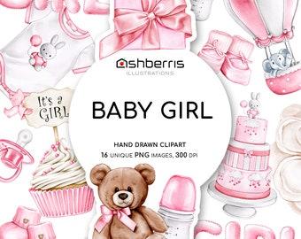 Baby Girl Clipart Elements, Pregnancy Clip Art, Newborn Watercolor Clipart, Baby Girl Clip Art, Baby Shower Clipart Pink, Newborn Clipart
