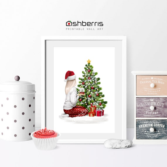 Christmas Fashion Illustration Holiday Decorations Wall Art