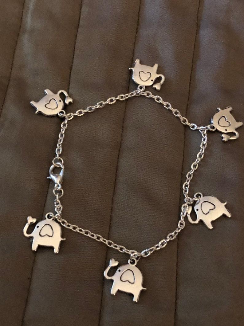 Elephant charm bracelet or ankle bracelet Elephant anklet Heart elephant charm bracelet.