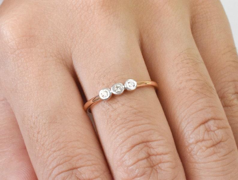 Bezel Set Diamond Ring in 14k 18k Solid Gold Three Stone Diamond Engagement Ring Engagement Ring Thin Gold Ring Dainty Ring GD2012