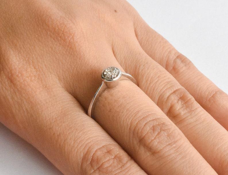 Dainty Delicate Stacking white Gold Diamond Ring DR70 18k White Gold Classic Diamond Round Circle Pave Diamond  Engagement Wedding Ring