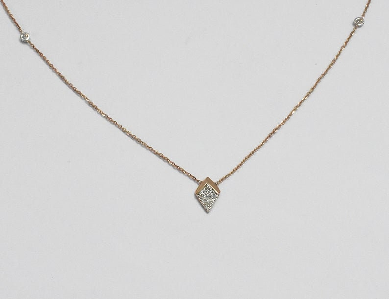 18K Rose gold  18  Minimalist Diamond Charm Necklace  Diamond Station Necklace  Layering Necklace  Arrow Charm  NXDOJGD4316
