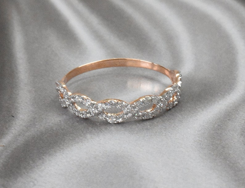 Diamond Infinity Ring Pave Diamond Ring Diamond Wedding Ring Twisted Band Ring Eternity Ring Diamond Band 14k 18k Gold OJGD3505