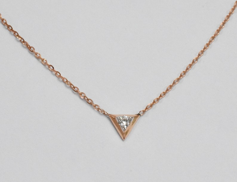 14k Gold Thin Chain Necklace Layering Necklace Bridesmaid Gift Everyday Necklace Rose Gold Necklace OJGD3605 Diamond Solitaire Necklace
